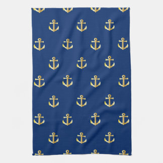 Chic Gold Yellow Colored Nautical Anchors Pattern Kitchen Towel