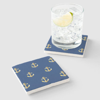 Chic Gold Yellow Colored Nautical Anchors Pattern Stone Coaster