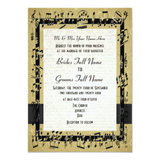 "Chic golden elegant music sheet formal wedding 4.5"" x 6.25"" invitation card"
