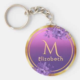 Chic golden frames on violet and pink add name keychain