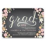 Chic Grad Chalkboard Floral Photo Graduation Personalized Invite