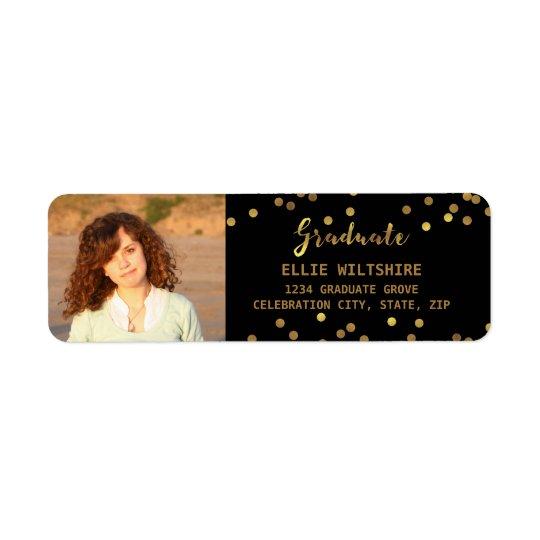 Chic Graduation Photo Faux Gold Foil Confetti Return Address Label