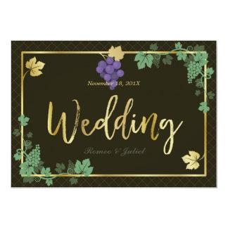 Chic Grape Vines Gold Frame Wedding Invitation