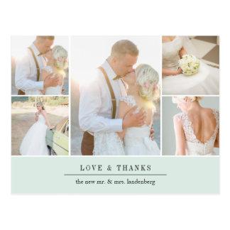 Chic Gratitude   Wedding Photo Collage Thank You Postcard