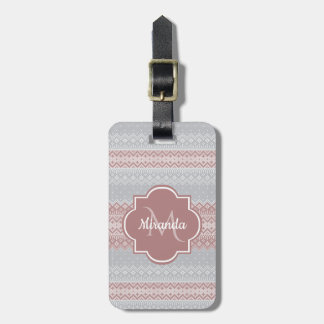 Chic Gray and Dusky Pink Knit Stripes and Monogram Luggage Tag
