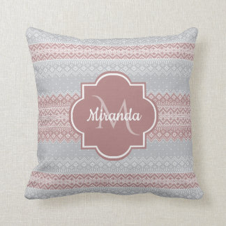 Chic Gray and Dusky Pink Knit Stripes and Monogram Throw Pillow