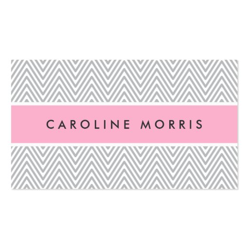 Chic gray chevrons pink professional profile business card template
