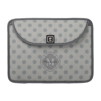 Chic Gray Polka Dots with Your Monogram Sleeve For MacBook Pro
