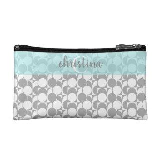Chic gray white geometric w aqua, monogrammed makeup bag