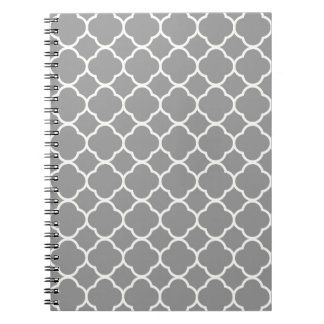 Chic Gray & White Quatrefoil Spiral Notebook