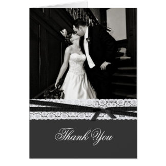Chic Gray with White Lace Wedding Thank You Card