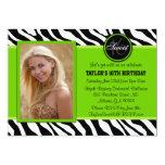 Chic Green and Black Zebra Print Photo Invite