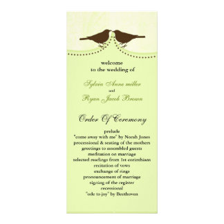 Chic green bird cage, love birds wedding programs customized rack card