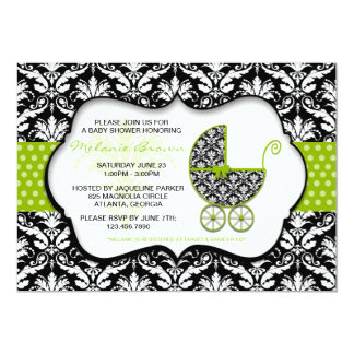 Chic Green Polka Dot Damask Baby Shower Invite