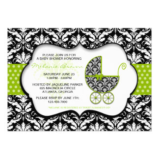 Chic Green Polka Dot Damask Baby Shower Invite