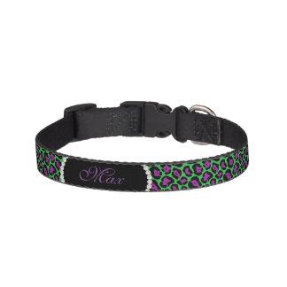 Chic Green & Pur Leopard Print Pearl Name Monogram Pet Collar