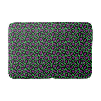 Chic Green & Purple Leopard Print Bath Mat