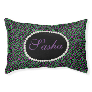 Chic Green & Purple Leopard Print Name Monogram Pet Bed