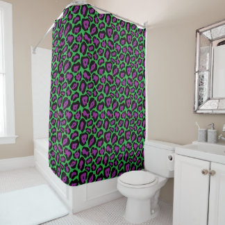 Chic Green & Purple Leopard Print Shower Curtain