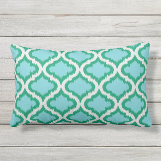 chic green turquoise moroccan pattern ikat pillow