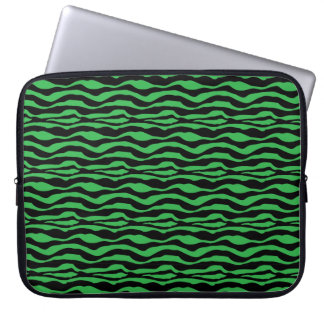 Chic Green Zebra Animal Print Laptop Sleeve