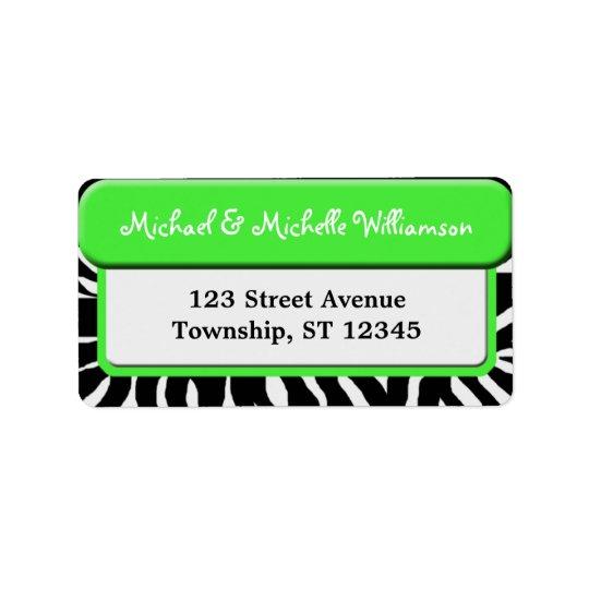 Chic Green Zebra Print Address Labels