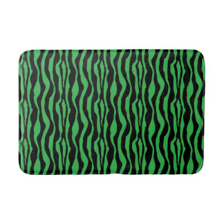 Chic Green Zebra Print Bath Mat