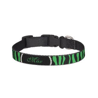 Chic Green Zebra Print Pearl Name Monogram Pet Collar