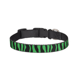 Chic Green Zebra Print Pet Collar