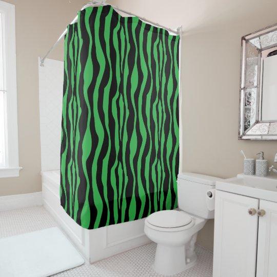 Chic Green Zebra Print Shower Curtain