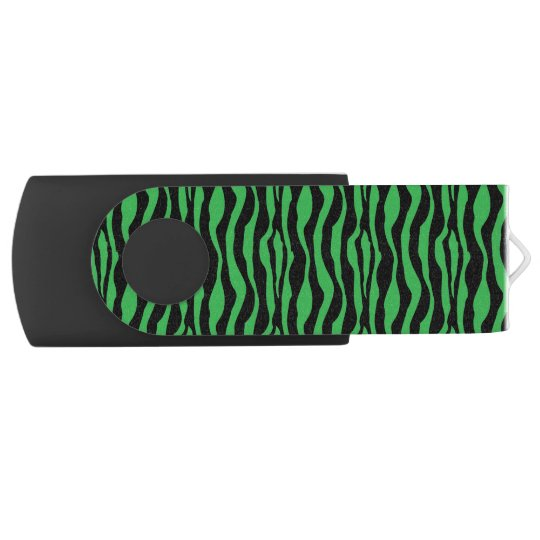 Chic Green Zebra Print USB Swivel USB 3.0 Flash Drive
