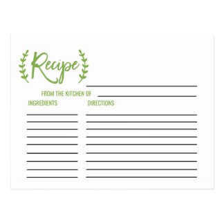 Chic Greenery Bridal Shower Recipe Cards