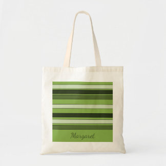 Chic Greenery Green Stripes Pattern Name Margaret Tote Bag