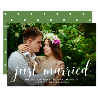 Chic Greenery | Just Married Photo Announcement