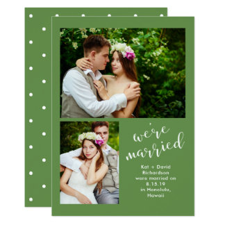 Chic Greenery   Two Photo Marriage Announcement