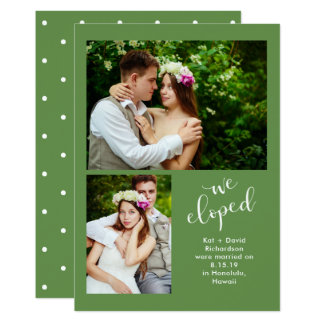 Chic Greenery | Two Photo We Eloped Announcement