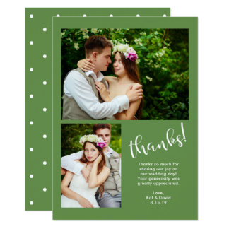 Chic Greenery | Two Photo Wedding Thank You Card