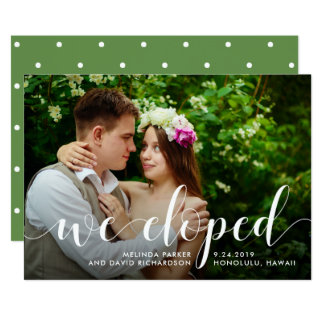 Chic Greenery   We Eloped Photo Announcement