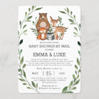 Chic Greenery Woodland Animals Baby Shower by Mail