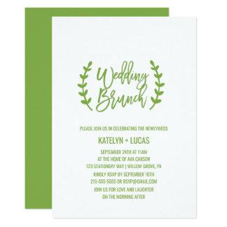 Chic Greenery Wreath Calligraphy Wedding Brunch Card