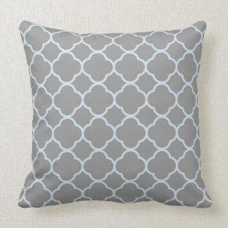 Chic Grey and Blue Quatrefoil Throw Pillow Cushion
