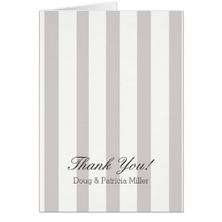 Chic Grey and white stripes Thank You Card