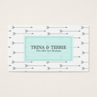 Chic Grey Arrow Business Card