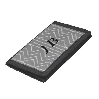 Chic Grey Geometric Pattern Add Initials Wallet