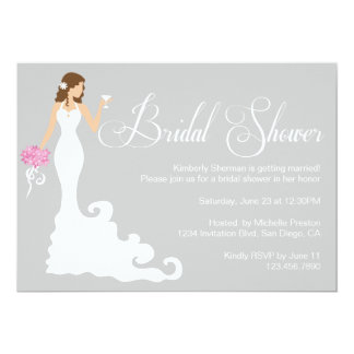 Chic Grey Modern Bride Posh Bridal Shower Invite