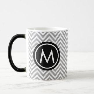 Chic Grey/White/Black Chevron Monogram Coffee Mug