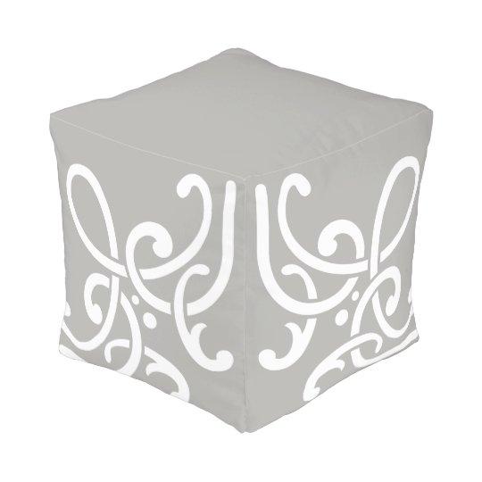 Chic Grey & White (greek scrolls) Pouf