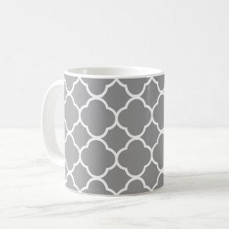 Chic Grey & White Quatrefoil Coffee Tea Mug