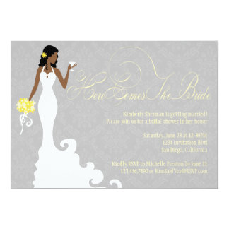 Chic Grey Yellow Here Comes the Bride Shower Card
