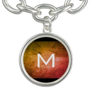 Chic Grunge Orange with Monogram Charm Bracelet